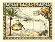 Premium poster Tropical Map of West Indies