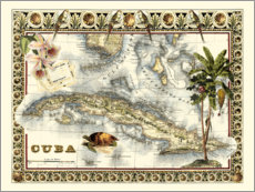 Acrylic print  Tropical Map of Cuba - Vision Studio
