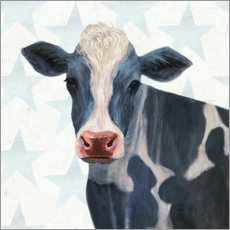Premium poster  Cow in front of stars - Victoria Borges