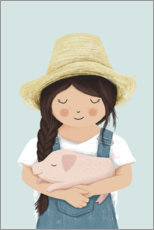 Canvas print  Girl with piglet - Sandy Lohß