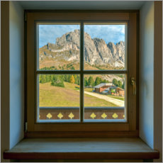 Acrylic print  Window view in the Dolomites - Michael Valjak