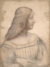 Wood print  Portrait of the Isabella d'Este - Leonardo da Vinci
