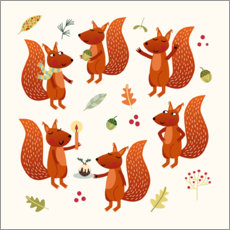 Wall sticker Squirrel Party