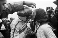 Wood print  Helen Stewart kisses her husband Jackie, F1 Netherlands 1968