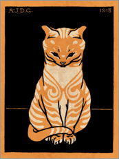 Premium poster  Sitting cat, colored - Julie de Graag