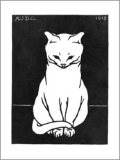 Premium poster Sitting cat, black and white