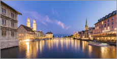 Premium poster Old town of Zurich in the evening