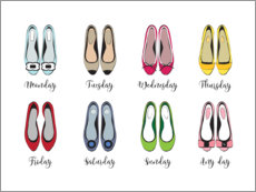 Premium poster  Colorful shoe week - Martina illustration