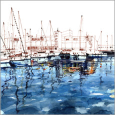 Foam board print  Barcelona harbor - Anastasia Mamoshina