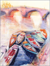 Aluminium print  Boats on the Seine - Anastasia Mamoshina