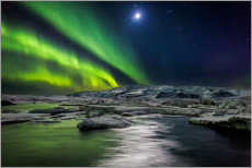 Canvas print  Moon and aurora borealis