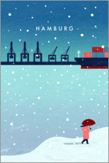 Premium poster Hamburg in winter