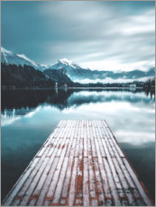 Wall sticker  Wooden footbridge in the mountain lake - Lukas Saalfrank