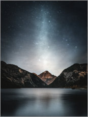 Premium poster  Starry sky over mountain lake - Lukas Saalfrank