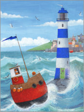 Wood print  Blue Lighthouse - Peter Adderley