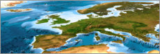 Canvas print  Europe map with sea depths
