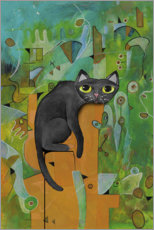 Canvas print  Black cat in the city - Maria Forrester