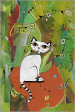 Wood print  White cat on a mat - Maria Forrester