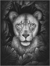 Aluminium print  Lioness in the jungle - Valeriya Korenkova