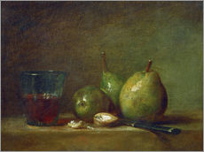 Gallery print  Pears, nuts, and a cup of wine - Jean Simeon Chardin