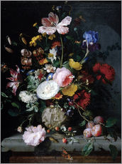 Gallery print  Still life with flowers in a terracotta vase - Jacob van Walscapelle