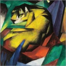 Wood print  The tiger - Franz Marc