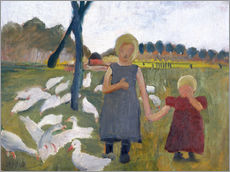 Wall sticker  Children with geese at a drawing well - Paula Modersohn-Becker