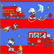 Wall sticker  animal fire brigade - Fluffy Feelings