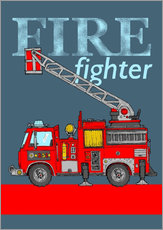 Wall sticker fire fighter fire truck