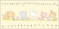 Wall sticker  baby pet animals with alphabet and numbers - Fluffy Feelings