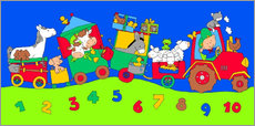 Wall sticker  tractor train with farm animals and numbers - Fluffy Feelings