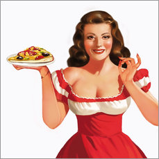 Wall Stickers  the girl with a pizza - Tanja Doronina