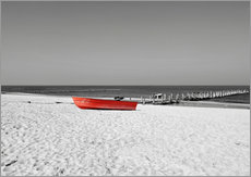 Wall sticker  Red boat on the beach - HADYPHOTO