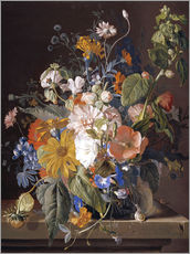 Wall sticker  Poppies, daisies, violets, marigolds and others in a vase - Jan van Huysum