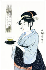 Gallery print  Naniwaya Okita serves a teacup in the famous tea house - Kitagawa Utamaro
