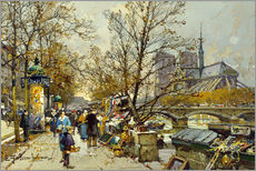 Gallery print  Rive Gauche with Notre Dame - Eugene Galien-Laloue