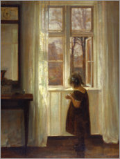 Poster Little girl at a window