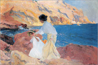 Wood print  Clotilde and Elena on the Rocks, Javea - Joaquin Sorolla y Bastida