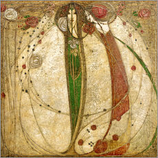 Wall sticker  The white rose and the red rose - Margaret MacDonald Mackintosh