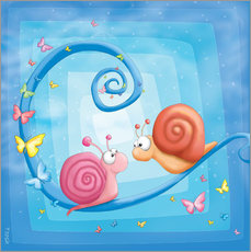Wall sticker  blue snails - Tooshtoosh