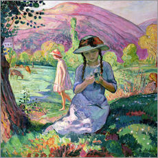 Gallery print  Young Girl picking Flowers, 1910 - Henri Lebasque