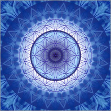 Wall sticker Flower of life blue