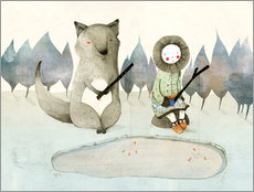Gallery print  The little Inuit girl and the wolf - Judith Loske