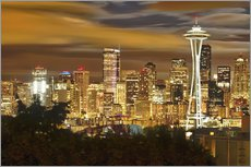 Gallery print  Nightly skyline of Seattle - Christopher Reed