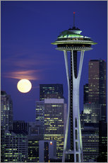 Gallery print  Space Needle at full moon - William Sutton