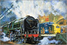 Gallery print  Evening Star, the last steam locomotive and the new diesel-electric Deltic - Harry Green