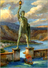 Wood print  The Colossus of Rhodes - English School
