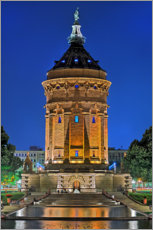 Gallery print  Lighted Water Tower in Mannheim - Fine Art Images