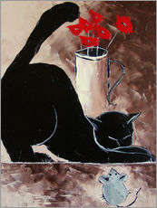 Gallery print  Black cat and mechanical mouse - JIEL