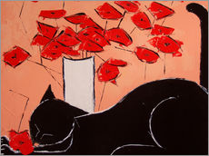 Gallery print  Black cat with poppies - JIEL